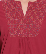 Load image into Gallery viewer, SHORT KURTI WOMEN MAROON HANDWOVEN COTTON FABRIC EMBROIDERED WORK