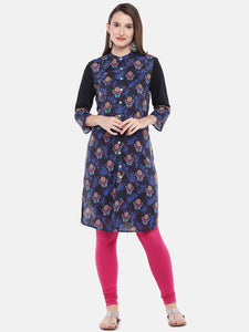 Women Navy Blue Printed Floral Straight Kurta