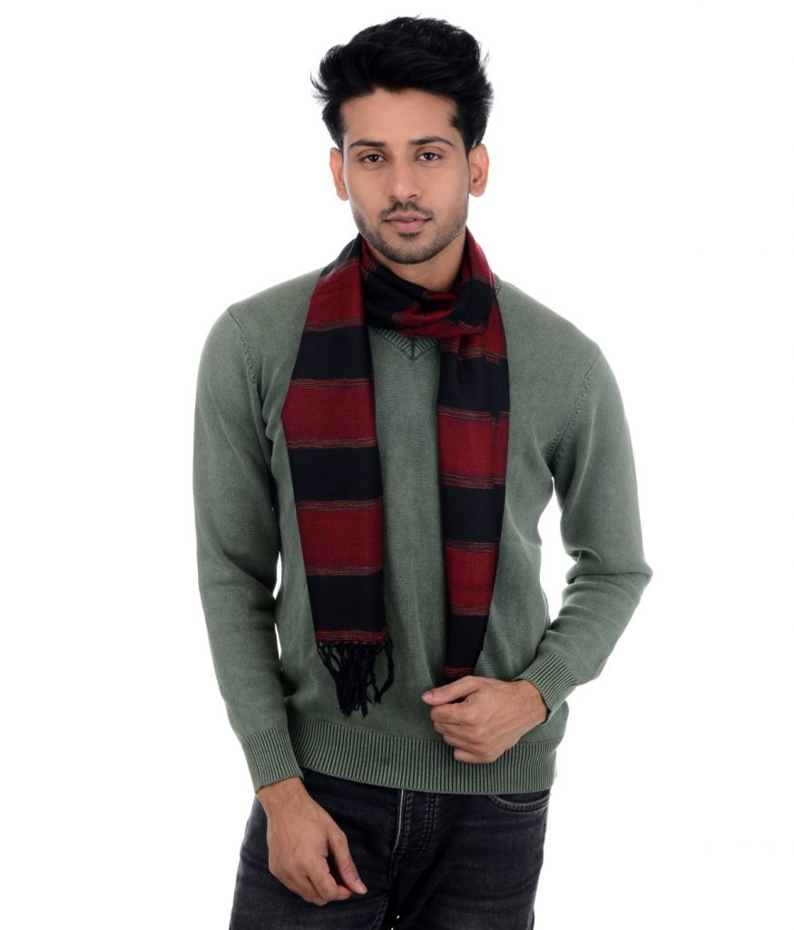 HANDWOVEN MUFFLER – SHEEP WOOL MULTICOLOR : HP