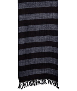 HANDWOVEN MUFFLER – SHEEP WOOL BLACK : HP