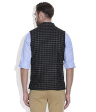 Load image into Gallery viewer, REVERSABLE NEHRU JACKET / WAIST COAT DOUBLE MEN SHEEP WOOL BLACK
