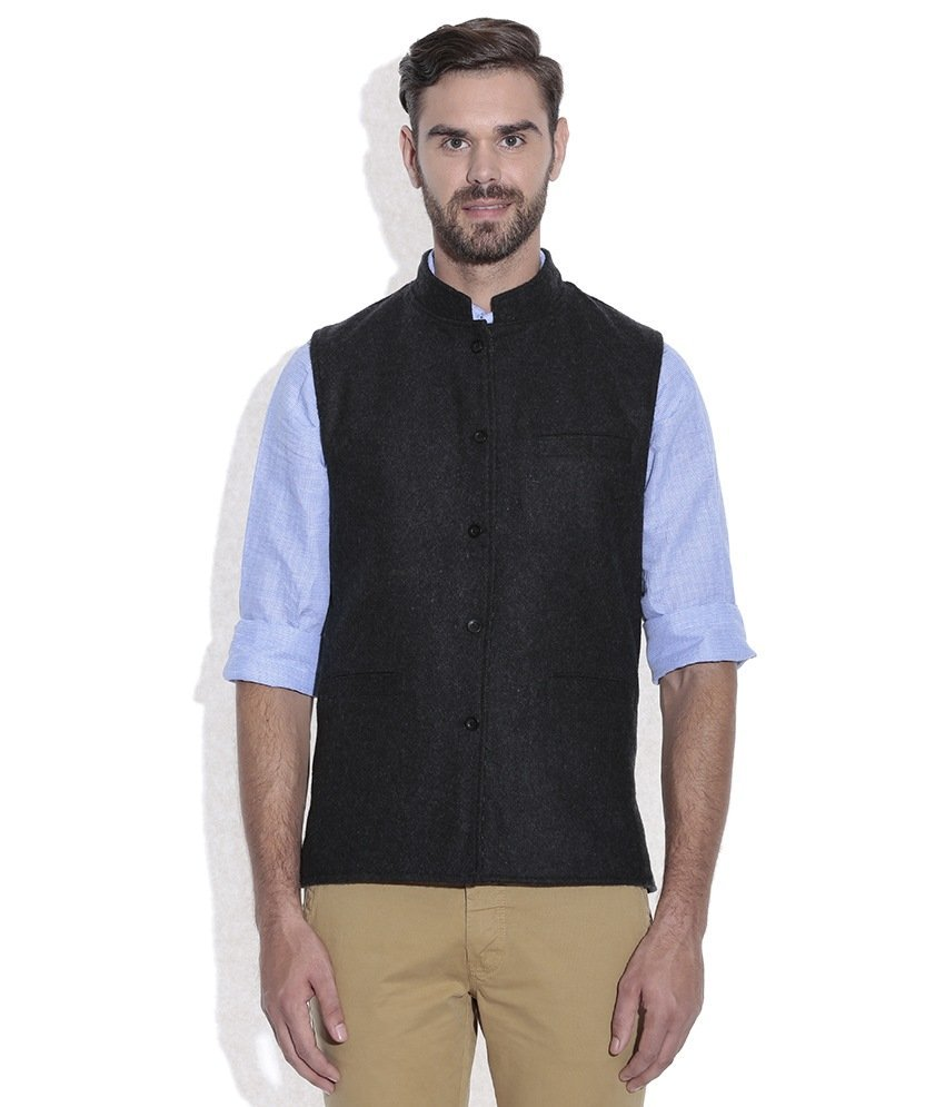 REVERSABLE NEHRU JACKET / WAIST COAT DOUBLE MEN SHEEP WOOL BLACK