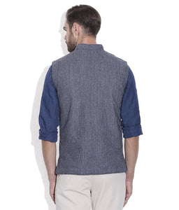 REVERSABLE NEHRU JACKET / WAIST COAT DOUBLE MEN SHEEP WOOL BLUE