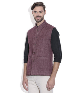 REVERSABLE NEHRU JACKET / WAIST COAT DOUBLE MEN SHEEP WOOL PINK