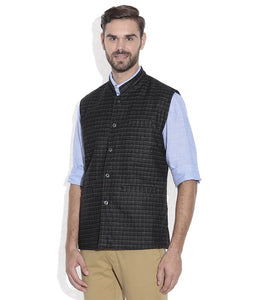 REVERSABLE NEHRU JACKET / WAIST COAT DOUBLE MEN SHEEP WOOL BLACK & PINK CHECK