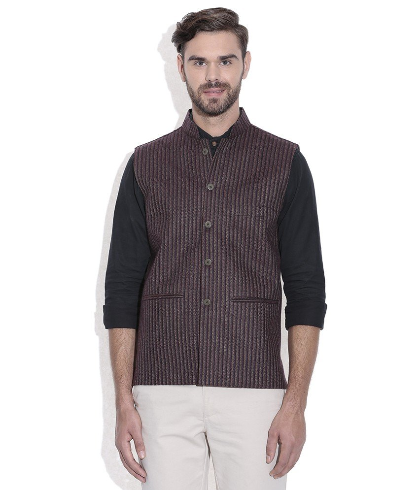 NEHRU JACKET / WAIST COAT PASTING MEN SHEEP WOOL BROWN
