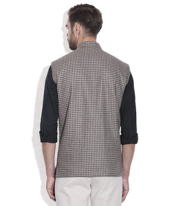 NEHRU JACKET / WAIST COAT PASTING MEN SHEEP WOOL BROWN & BEIGE CHECK
