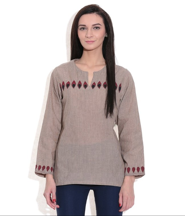 SHORT KURTI WOMEN BEIGE HANDWOVEN COTTON FABRIC PATCH WORK