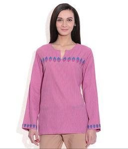 SHORT KURTI WOMEN PINK HANDWOVEN COTTON FABRIC PATCH WORK