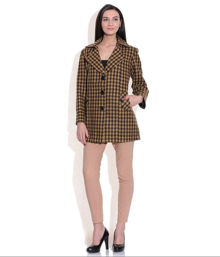 LADIES LONG JACKET SHEEP WOOL YELLOW & BROWN CHECK