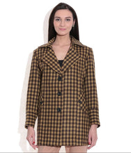 Load image into Gallery viewer, LADIES LONG JACKET SHEEP WOOL YELLOW & BROWN CHECK