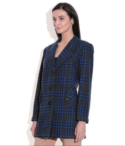 LADIES LONG JACKET SHEEP WOOL BLUE & BLACK CHECK