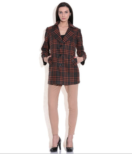 LADIES LONG JACKET SHEEP WOOL BROWN & BLACK CHECK