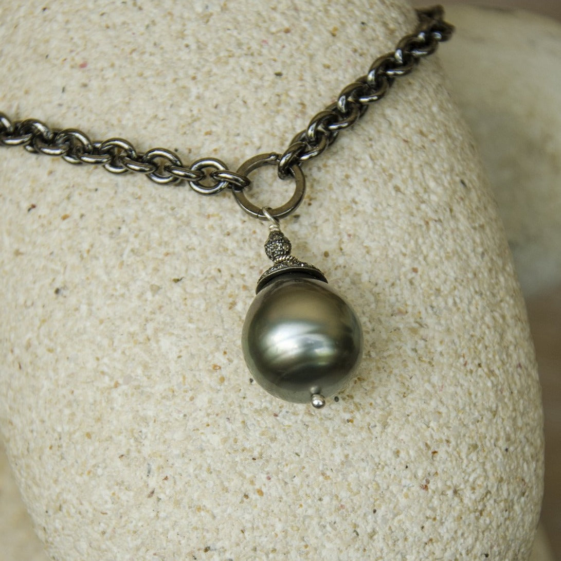 NEW MOON TAHITIAN  PEARL NECKLACE