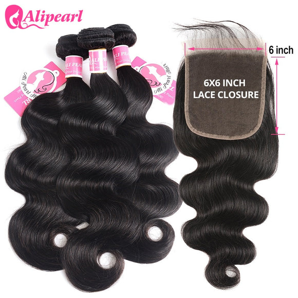 3/4 Bundles With Closure Alipearl Human Hair Bundles With Closure 6x6 Free Part Pre Plucked Brazilian Straight Bundles With Closure Remy Hair Extension Refreshment