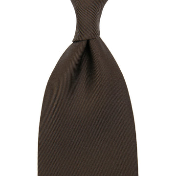 【ネクタイ】50 oz Plain Dyed Silk Tie - Chocolate - Hand-Rolled