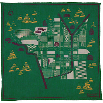 【ポケットチーフ】Kyoto Map Cotton Blend Pocket Square - Green - 40 x 40cm