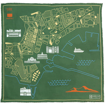 【ポケットチーフ】Naples Map Silk Pocket Square - Olive - 40x40cm