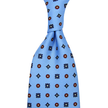 【ネクタイ】Floral Printed Silk Tie - Powder Blue - Hand-Rolled