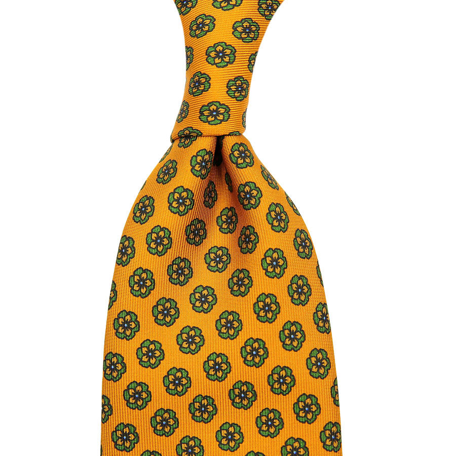 【ネクタイ】Floral Printed Silk Tie - Honey - Hand-Rolled