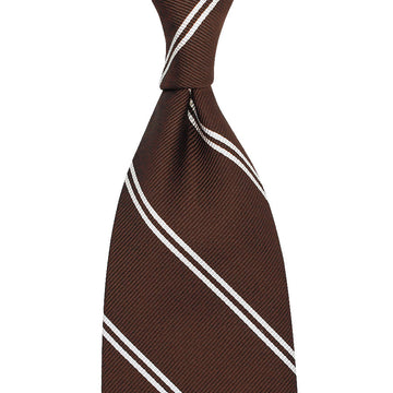 【ネクタイ】Double Bar Repp Stripe Silk Tie - Brown - Hand-Rolled