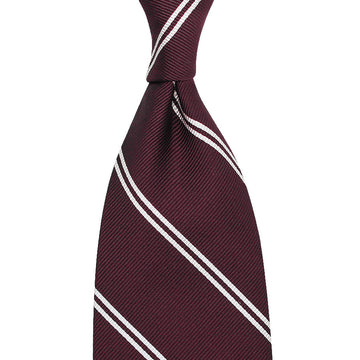 【ネクタイ】Double Bar Repp Stripe Silk Tie - Burgundy - Hand-Rolled