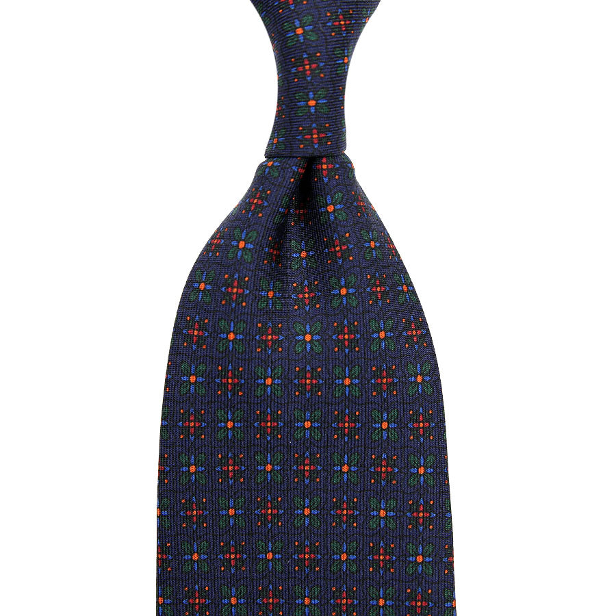 【ネクタイ】Ancient Madder Silk Tie - Navy XI .- Hand-Rolled
