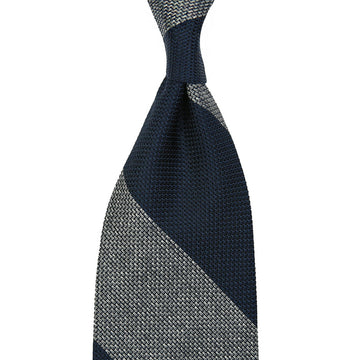 【ネクタイ】Block Stripe Grenadine / Garza Piccola Silk Tie - Navy / Grey Mottled