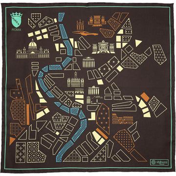 【ポケットチーフ】Rome Map Silk Pocket Square - Chocolate - 40x40cm