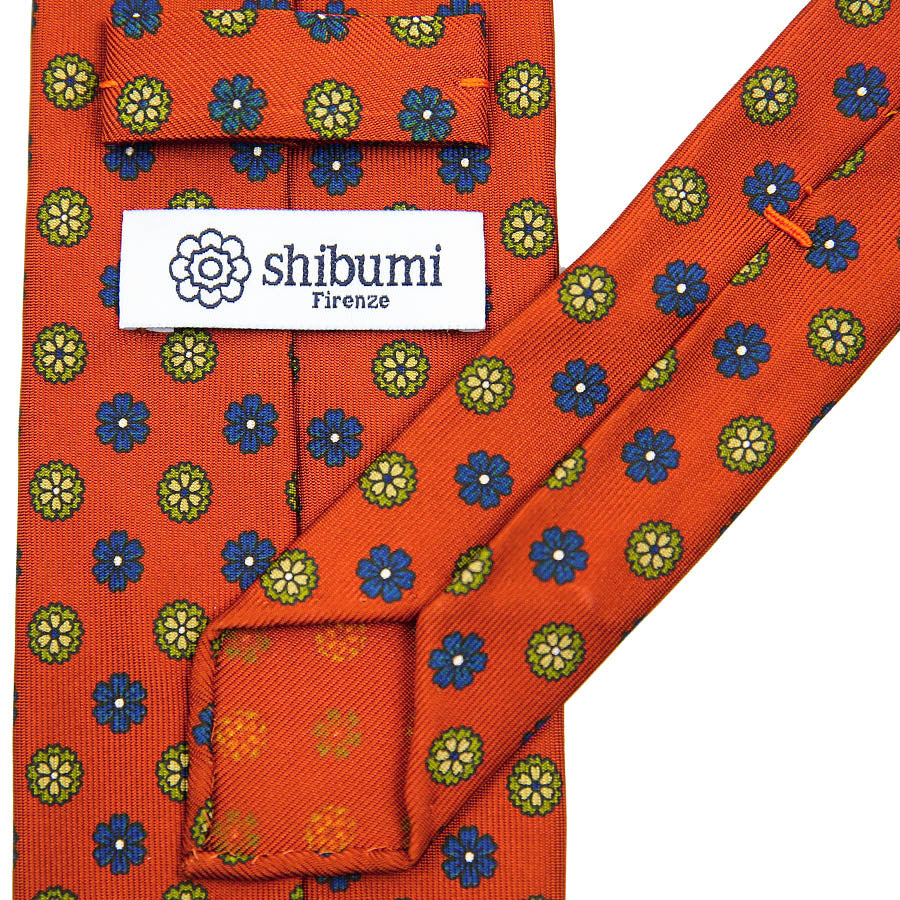 【ネクタイ】Floral Printed Silk Tie - Burnt Orange - Hand-Rolled