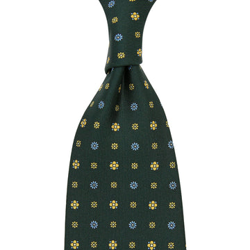 【ネクタイ】Floral Printed Silk Tie - Madder Green V - Hand-Rolled