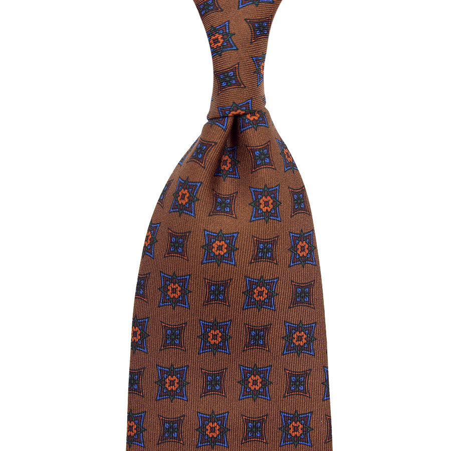 【ネクタイ】Ancient Madder Silk Tie - Oatmeal - Hand-Rolled