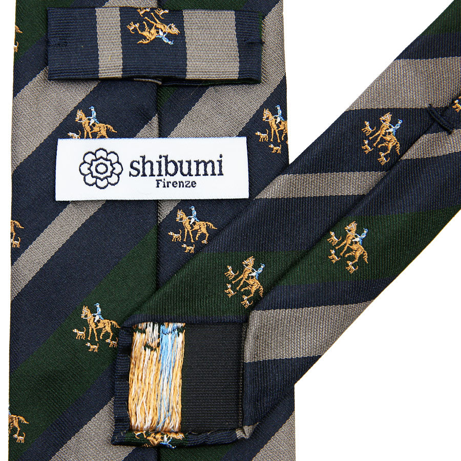 【ネクタイ】Crest Repp Silk Tie - Navy / Forest / Grey - Hand-Rolled