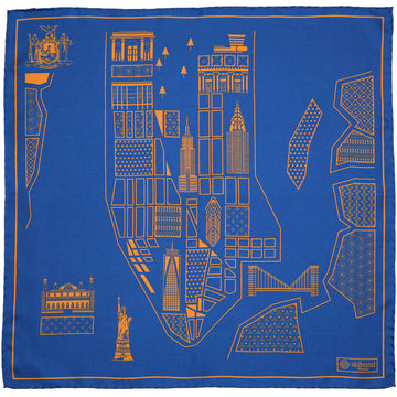 【ポケットチーフ】New York Map Silk Pocket Square - Royal - 40x40cm