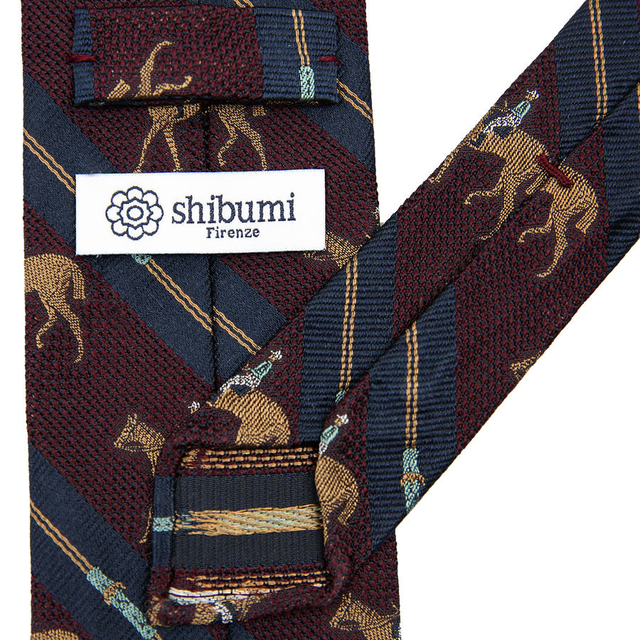 【ネクタイ】Crest Grenadine Silk Tie - Navy / Burgundy - Hand-Rolled