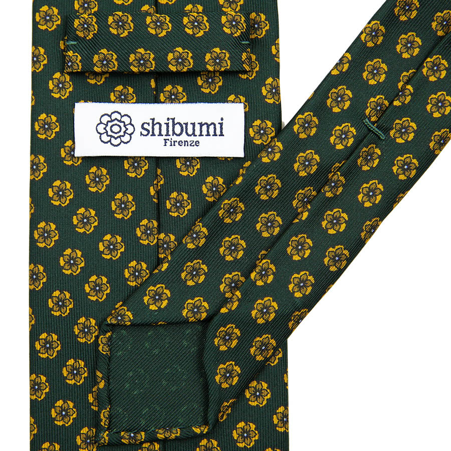 【ネクタイ】Floral Printed Silk Tie - Forest Green II - Hand-Rolled