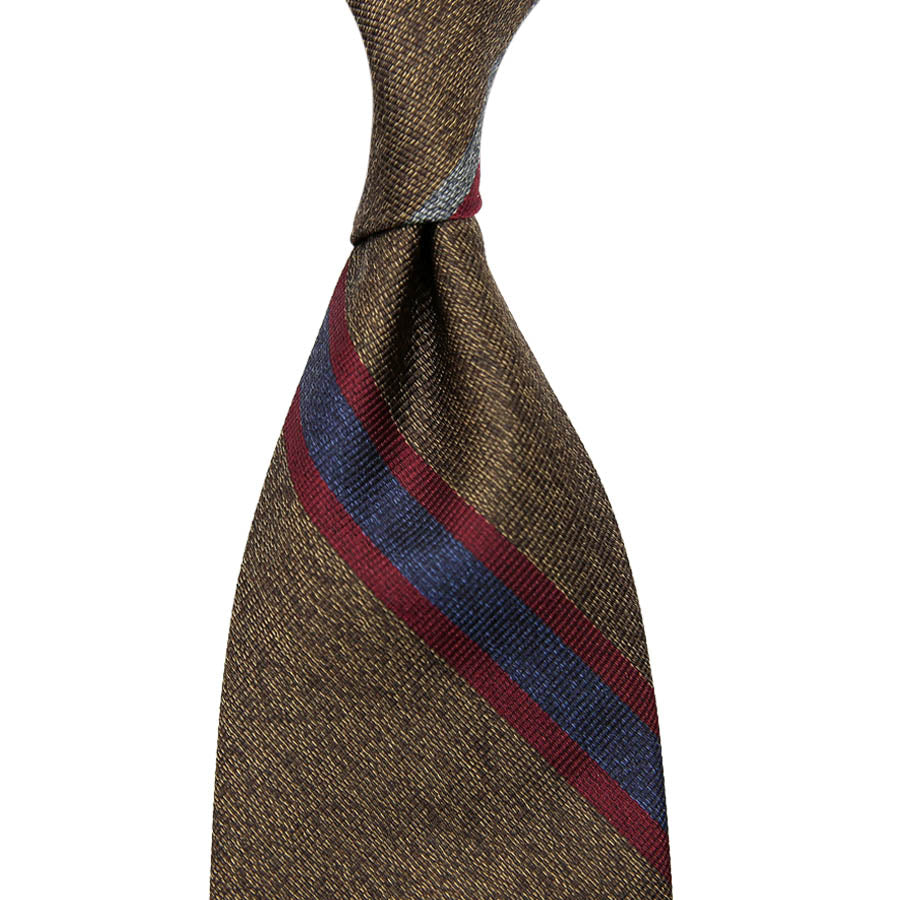 【ネクタイ】Mottled Repp Stripe Silk Tie - Brown - Hand-Rolled