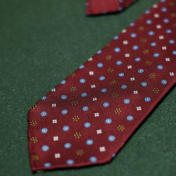 【ネクタイ】Floral Printed Silk Ties - Hand-Rolled