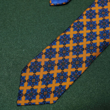 【ネクタイ】  Ancient Madder Silk Tie - Orange/Blue - Hand-Rolled