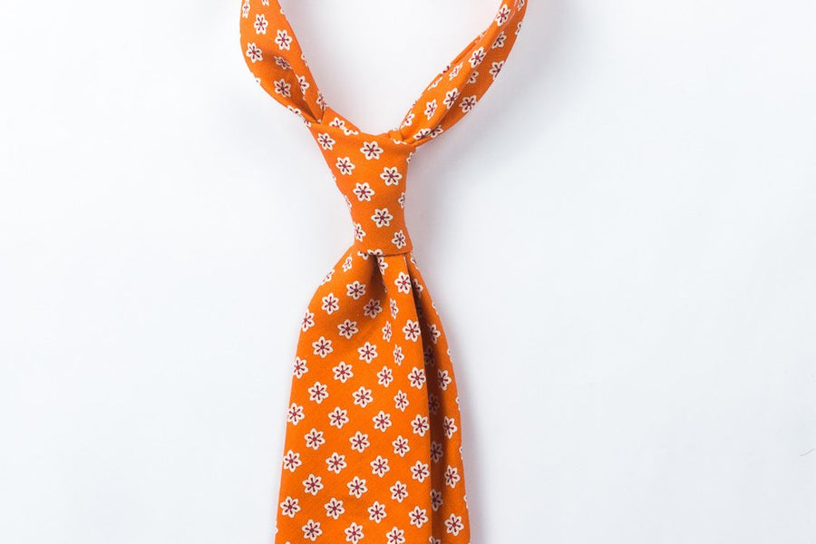 【ネクタイ】Orange Flowers Printed Linen