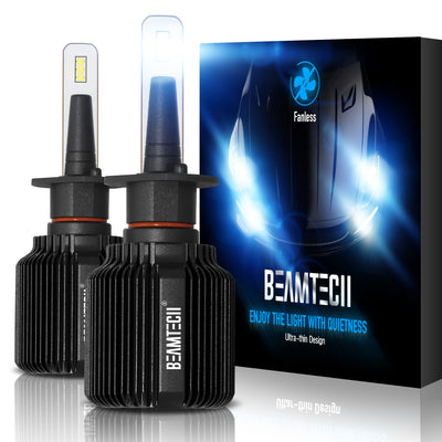 BEAMTECH H1 LED Bulb Fanless CSP Y19 Chips 8000 Lumens 6500K Xenon White  Extremely Bright Conversion Kit