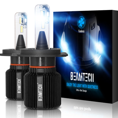 BEAMTECH H4 LED Bulb Fanless CSP Y19 Chips 8000 Lumens 6500K Xenon White  Extremely Bright Conversion Kit
