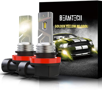 BEAMTECH H11 LED Fog Light Bulb, 360°Beam Angle 3000 Lumens Extremely Bright H8 3500K Golden Yellow Pack of 2