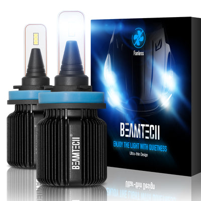 BEAMTECH H11 LED Bulb Fanless CSP Y19 Chips 8000 Lumens 6500K Xenon White  Extremely Bright Conversion Kit