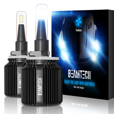 BEAMTECH 880 LED Bulb Fanless CSP Y19 Chips 8000 Lumens 6500K Xenon White  Extremely Bright Conversion Kit