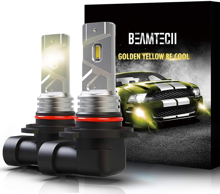 BEAMTECH 9006 LED Fog Light Bulbs, 360°Beam Angle 3000 Lumens Extremely Bright HB4 3500K Golden Yellow Pack of 2
