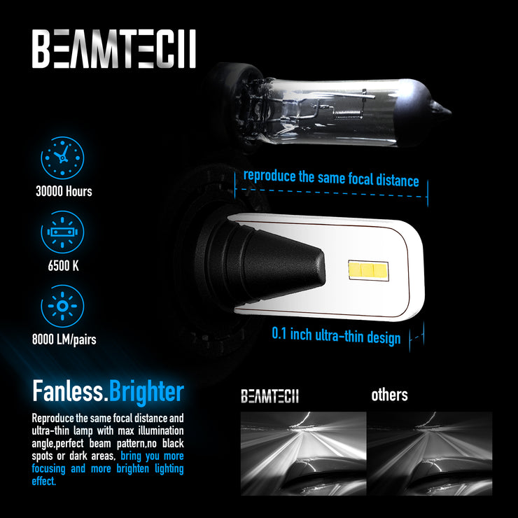 BEAMTECH 9006 LED Bulb Fanless CSP Y19 Chips 8000 Lumens 6500K Xenon White  Extremely Bright Conversion Kit