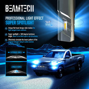 BEAMTECH 9005 LED Bulbs, HB3 G-XP Chips 6500K 360 Degree Beam 90W Xenon White Conversion Kits With Fan High Brightness Low Fog Light