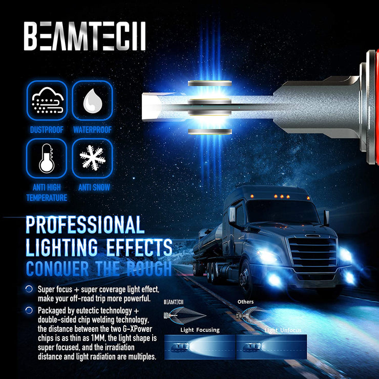 BEAMTECH 9005 LED Bulbs, HB3 G-XP Chips 110W 6500K High Power Xenon White Conversion Kits 360 Degree Lighting Plug N Play Replacement Low Fog Light