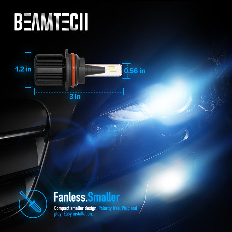 BEAMTECH 9007 LED Bulb Fanless CSP Y19 Chips 8000 Lumens 6500K Xenon White  Extremely Bright Conversion Kit